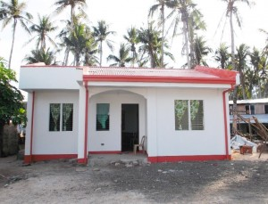 Safe new houses for typhoon-affected families.